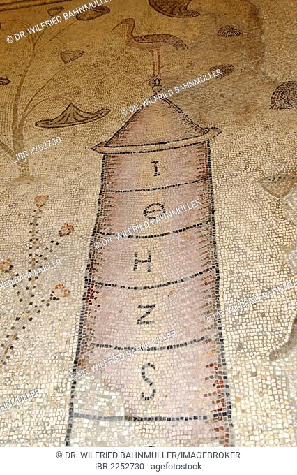 Floor mosaic, 6th Century, Nilometer, multiplication church, Tabgha, at the Sea of Galilee, Gennesaret Yam Kinneret, Lake Tiberias, Galillee, Israel