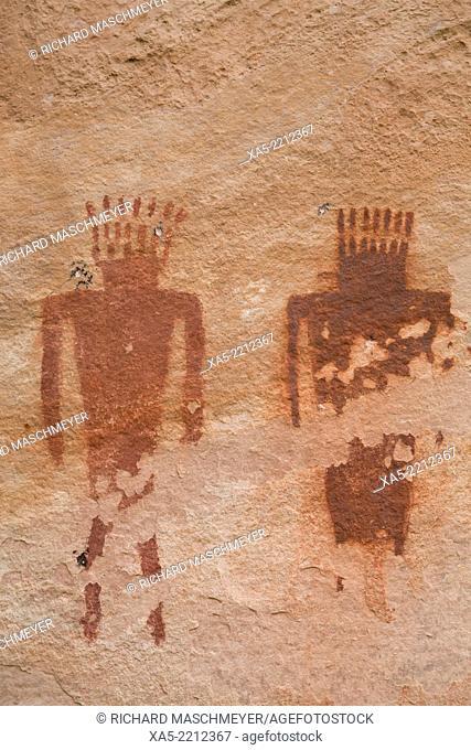 USA, Utah, Dinosaur National Monument, Jones Hole, Fremont style pictographs, AD 700 to AD 1200