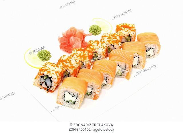 Salmon sushi and chopsticks on white background