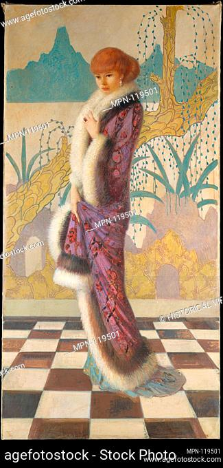 Mrs. Ethel Cushing. Artist: Howard Cushing (1869-1917); Date: ca. 1912-14; Medium: Oil on canvas; Dimensions: 84 1/2 x 42 1/3 in. (214.6 x 107