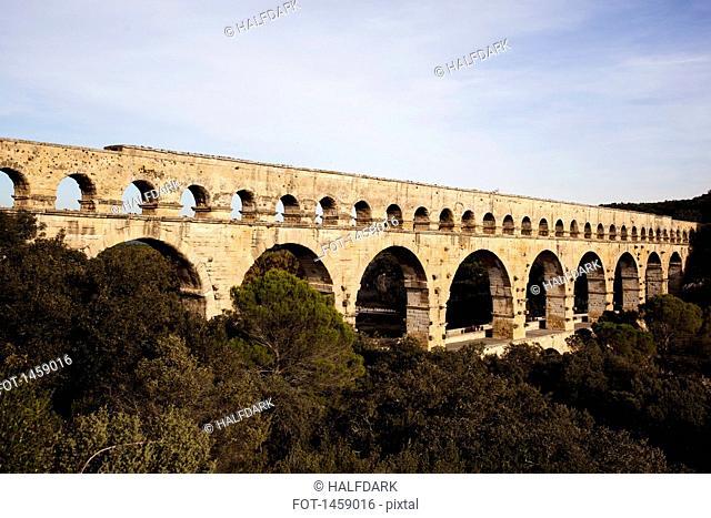 View of Pont du Gard against sky