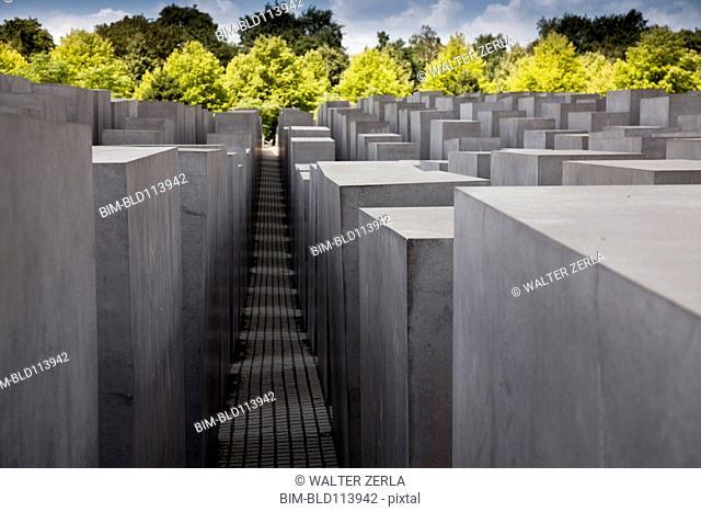 Walls in concrete city park, Berlin, Germany
