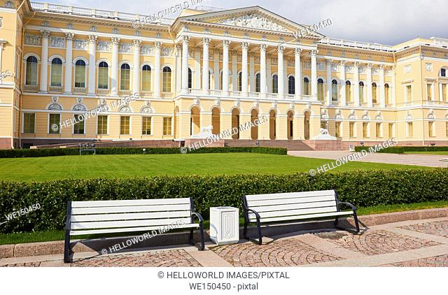 Neo-Classical Mikhaylovskiy Palace by Carlo Rossi, main building of the Russian Museum, Arts Square, St Petersburg, Russia, Europe