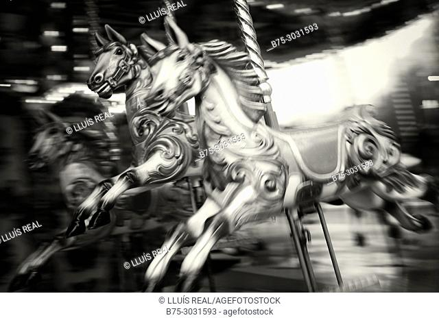 Horse on a fairground carousel at Winter Wonderland in Hyde Park. Hyde Park, London, England