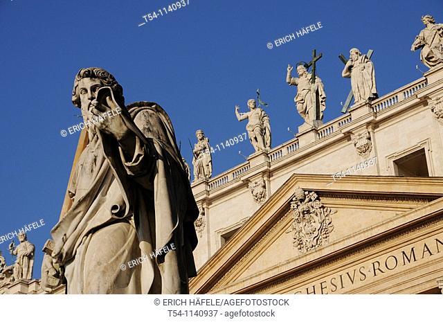 Statue of Saint Paul, St. Peter's Basilica, Vatican City, UNESCO World Cultural Heritage, Rome, Lazio, Italy