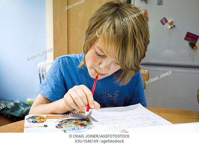 A pre-teenage boy doing his homework at the kitchen table