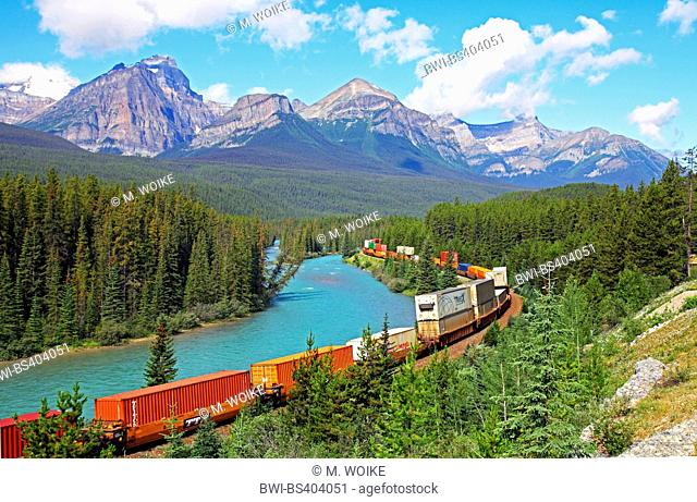 Bow River Valley Parkway, cargo train, Canada, Alberta, Banff National Park