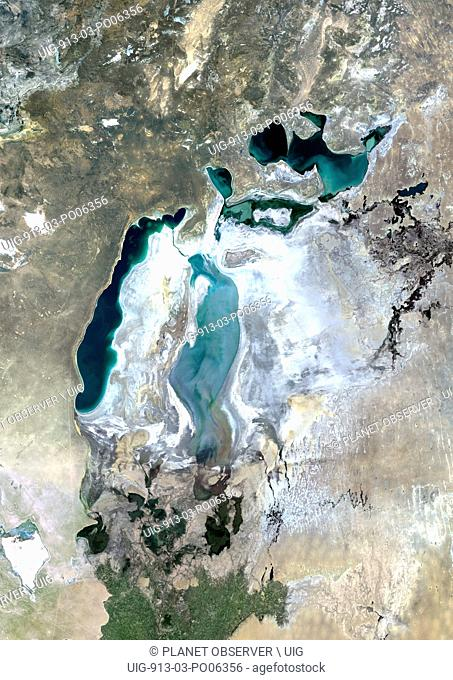 Colour satellite image of the Aral Sea. Image taken in 2010