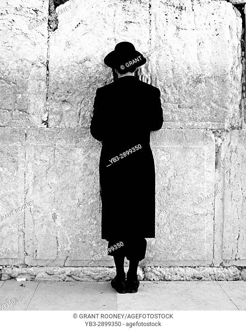 Orthodox Jewish Man Praying, Western Wall, Jerusalem, Israel
