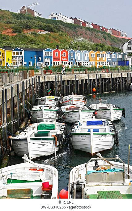 boats in front of lobster stalls on Heligoland, Germany, Schleswig-Holstein, Heligoland