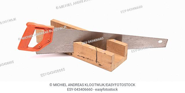 Miter box with a saw, isolated on a white background