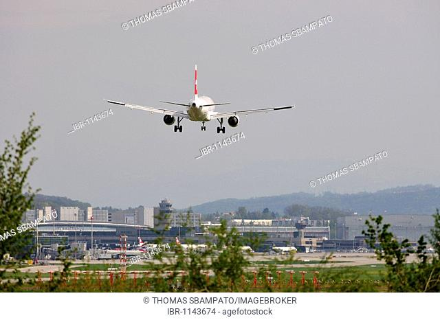Airbus A320-214 of the Swiss Air approaching the airport of Zurich, Switzerland