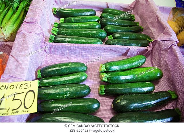 Zucchinis for sale at the market, Syracuse, Sicily, Italy, Europe
