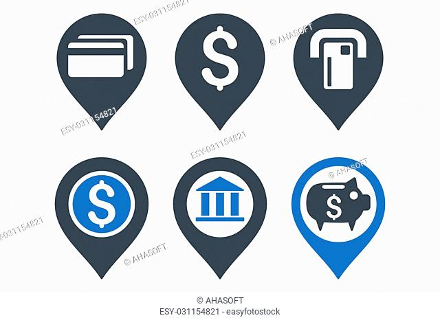 Banking Map Pointer glyph icons. Icon style is bicolor smooth blue flat symbols with rounded angles on a white background