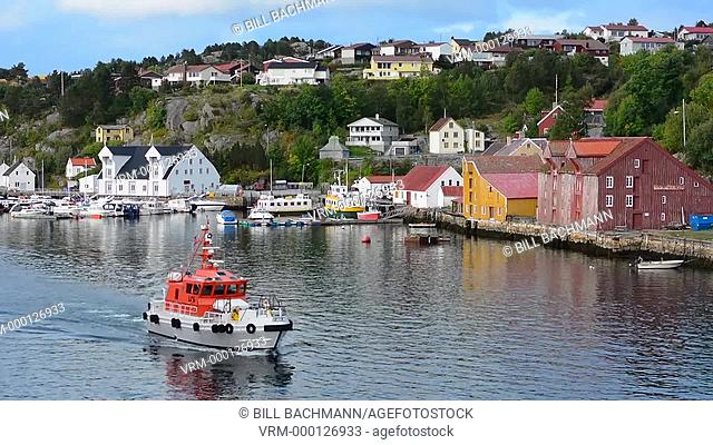 Kristiansund Norway cruise Hurtigruten colorful village from water of fishing village and city