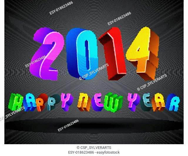 2014 Happy New Year card with phrase made with 3d retro style ge