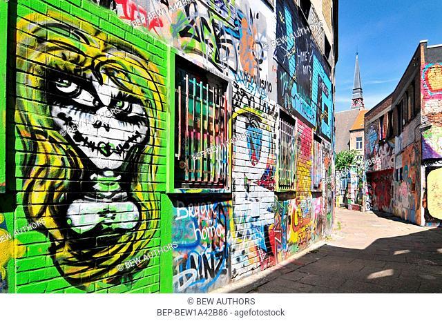 Graffiti street in Ghent Belgium