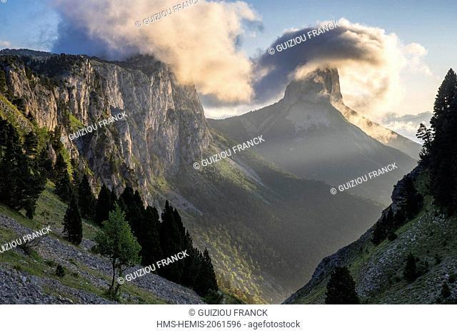France, Isere, Vercors regional nature park, Mont Aiguille (alt : 2086 m) from the Vercors Highlands