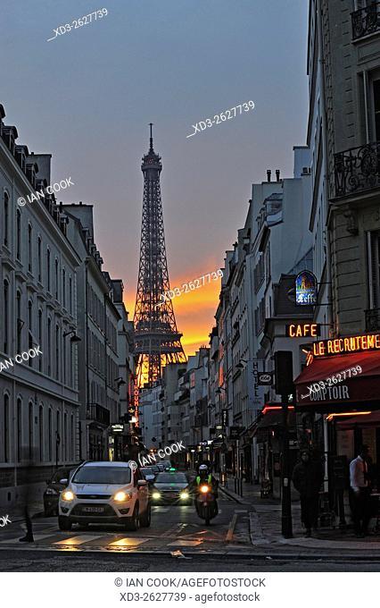 Rue Saint-Dominique and Eiffel Tower, 7th Arr. , Paris, France