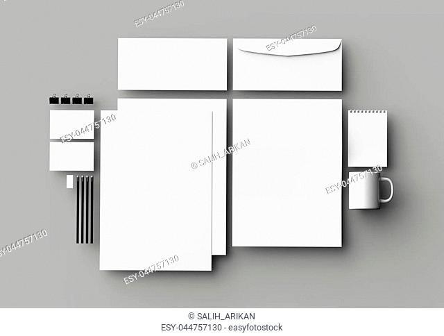 Corporate identity stationery mock up isolated on light gray background. 3D illustration