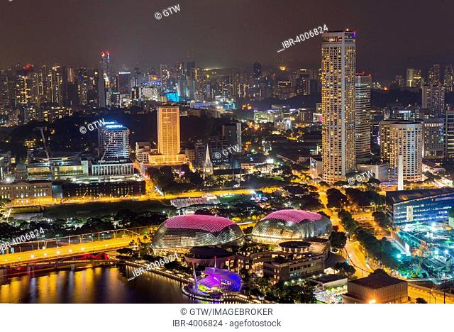 Downtown central financial district at night, Singapore