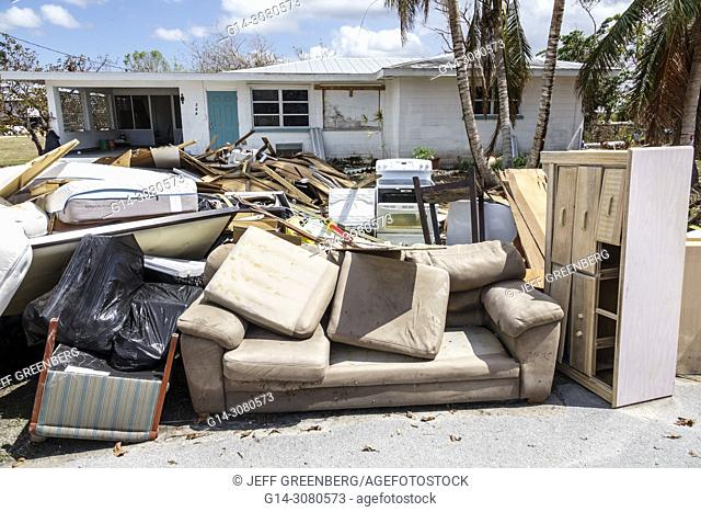 Florida, Everglades City, after Hurricane Irma, houses homes residences, front yard, storm disaster recovery cleanup, flood surge damage destruction aftermath