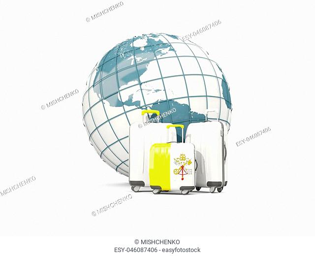 Luggage with flag of vatican city. Three bags in front of globe. 3D illustration