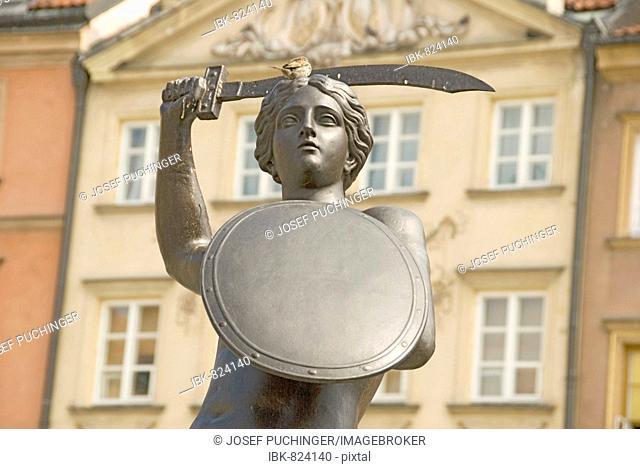 Landmark, emblem figure, Warsaw, Poland, Europe