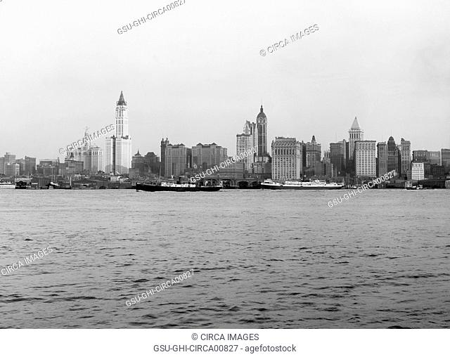 Skyline, Lower Manhattan, New York City, USA, circa 1915