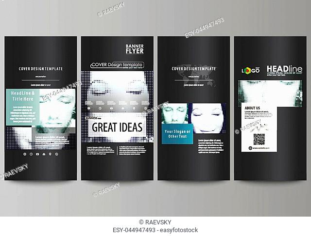 Flyers set, modern banners. Business templates. Cover design template, easy editable abstract vector layouts. Halftone dotted background