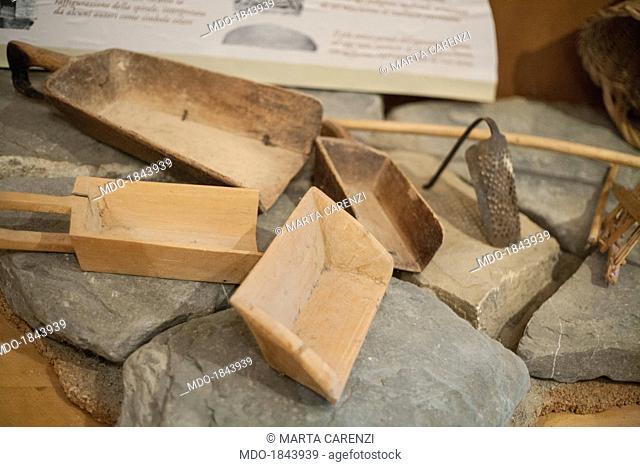 Wooden farm tools from the collective farm Valle dei Cavalieri created by the Pro Loco to revitalize the almost dead village in the Appennino Reggiano