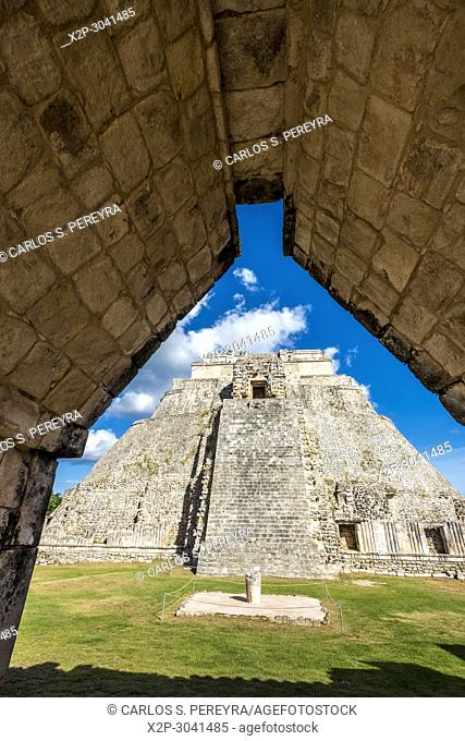 The Pyramid of the Magician (Pirámide del Mago) towering in the Maya City of Uxmal, Mexico