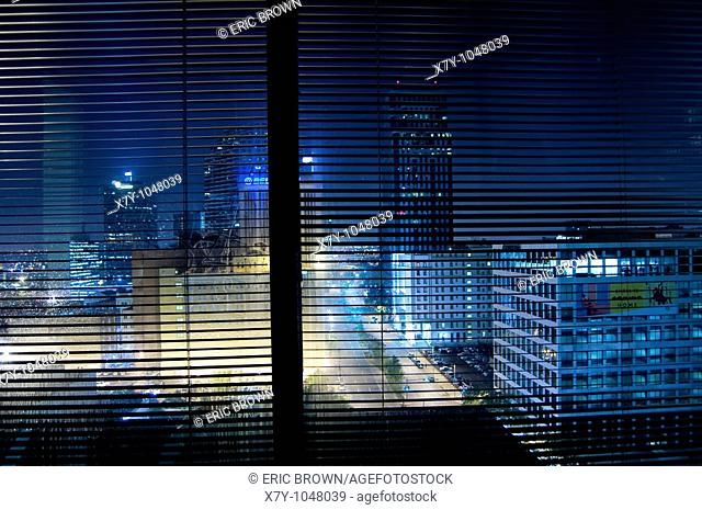 Night time view from an office building in New Orleans, LA