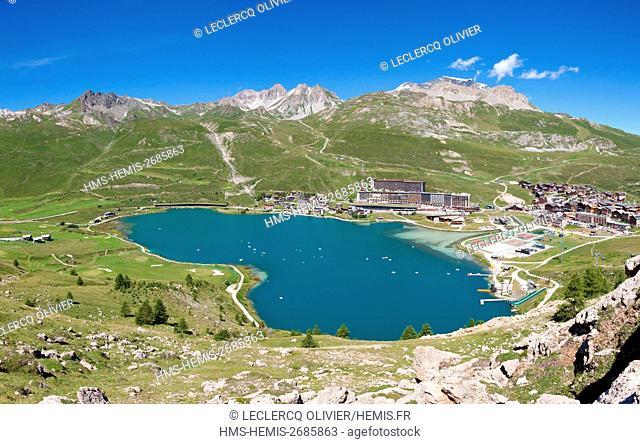 France, Savoie, Vanoise Massif, Tignes, Seen on the lake