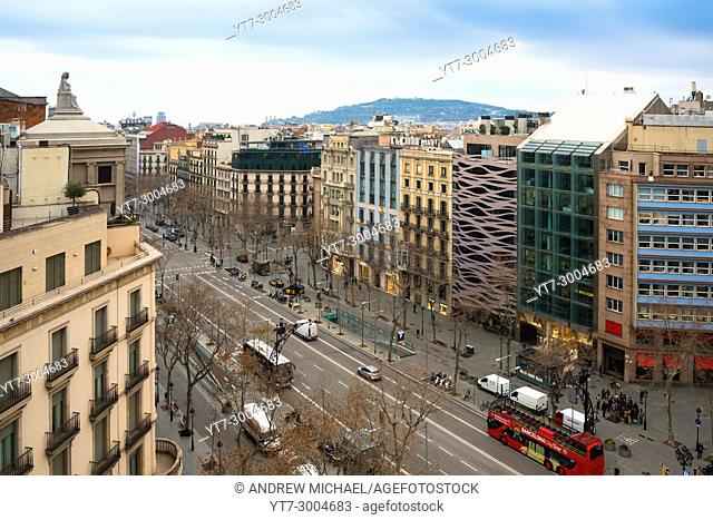 Paseo de Gracia Avenue, one of the main streets in Barcelona, view from Casa Mila rooftop Catalonia, Spain