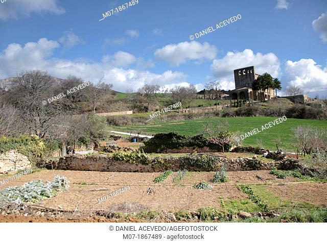 Azuelo vegetable gardens and chapel, Navarra, Spain, Europe