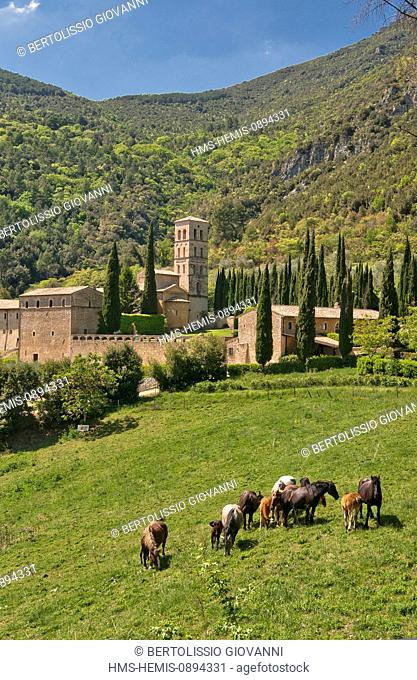 Italy, Umbria, The Valnerina Ferentillo, Abbey of San Pietro in Valle, 8th century