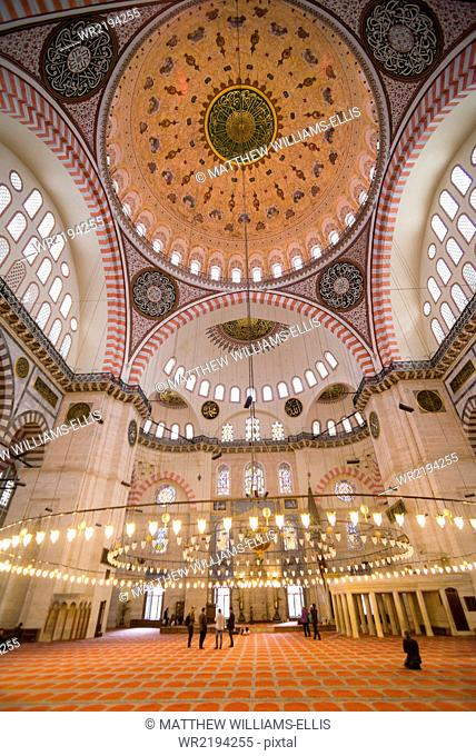 Inside Suleymaniye Mosque, UNESCO World Heritage Site, Istanbul, Turkey, Europe