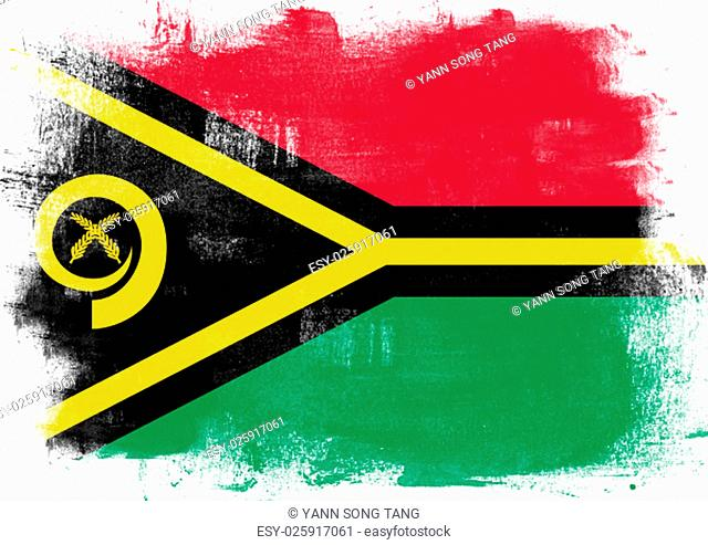 Flag of Vanuatu painted with brush on solid background