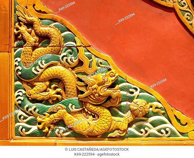 Detail of decoration at Beihai Park. Beijing. China