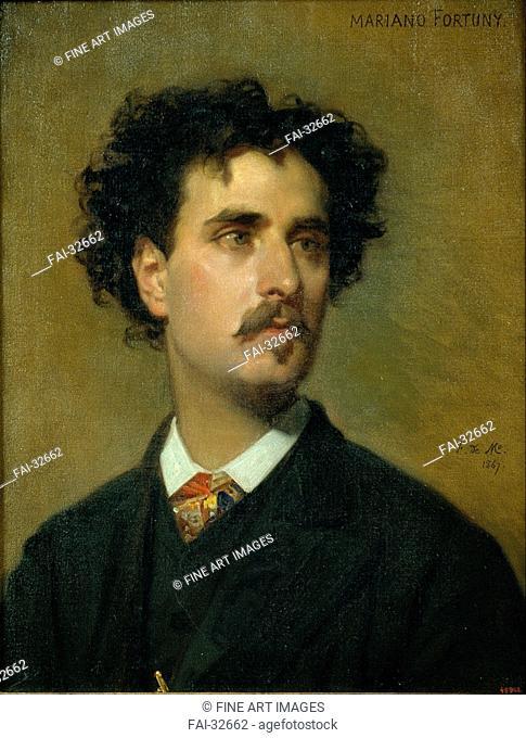 Portrait of Marià Fortuny by Madrazo y Kuntz, Federico de (1815-1894)/Oil on canvas/Romanticism/1867/Spain/Museu Nacional d'Art de Catalunya, Barcelona/54x42