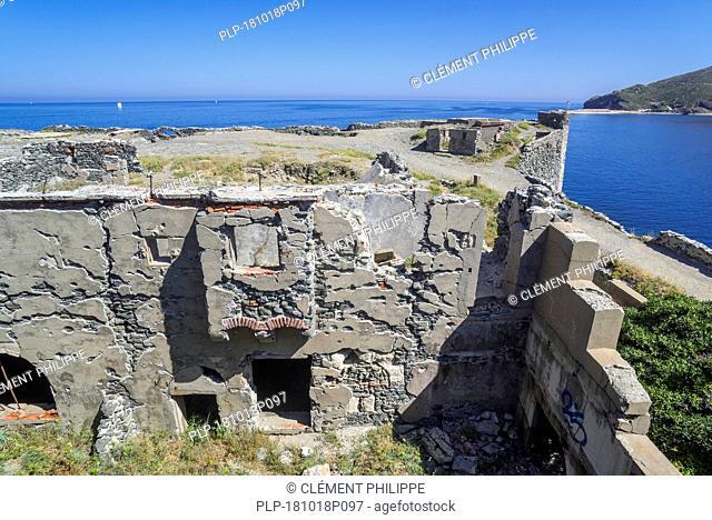 Remains of 1850 Fort de la Mauresque at Cap Gros near Port-Vendres, Côte Vermeille, Pyrénées-Orientales, France