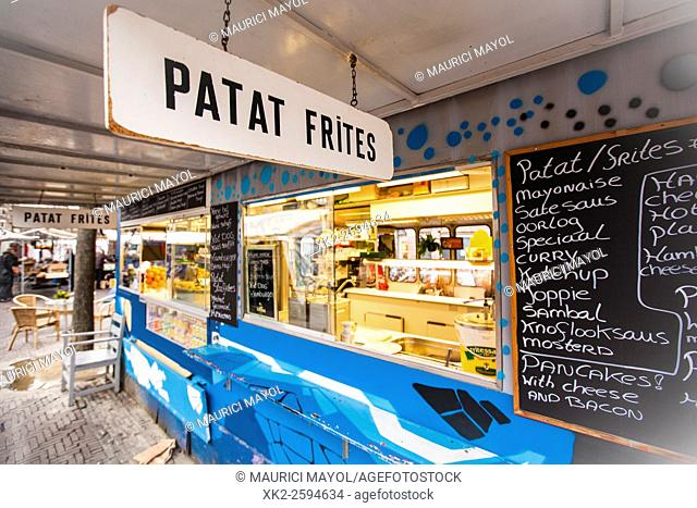 Patat frites stall on street market, Amsterdam, The Nederlands