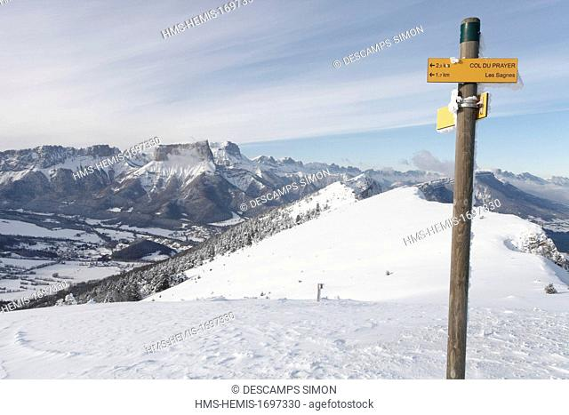 France, Isere, Vercors national natural reserve, view on the Vercors plateau and the mont Aiguille from the Platary mountain, above the village