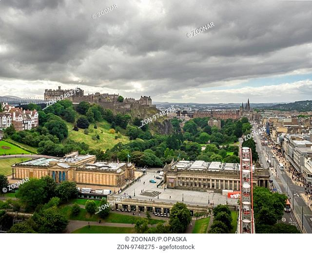 Edinburgh, Scotland - 31 August 2016 : Panoramic view of the centre of Edinburgh on a cloudy day