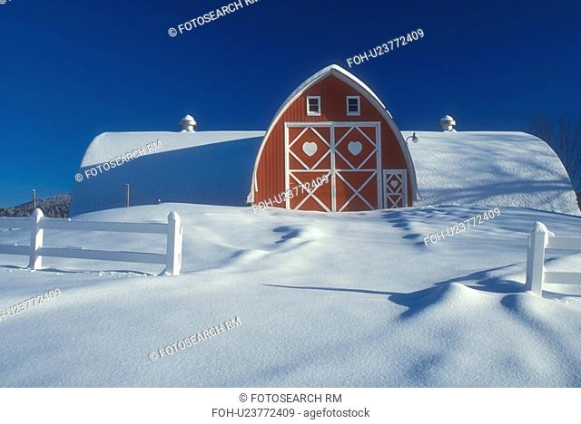 Vermont, red barn, VT, Snow-covered, red barn with white trim, Diamond Heart Farm, East Albany, winter