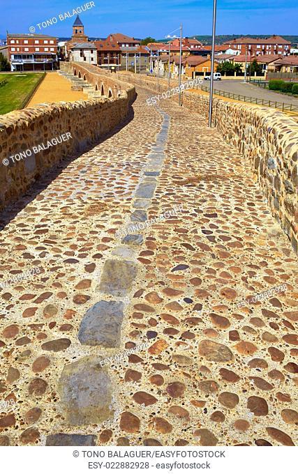 Orbigo river bridge Passo Honroso Saint James Way in Castilla Leon Spain