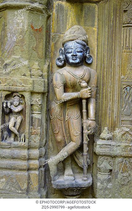 Sculpture of dwarpala on the wall of Trishund Mayureshshwar Ganesh Temple at Somawar Peth Pune Maharashtra India