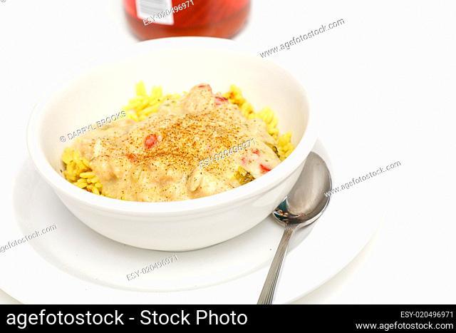 Chicken Chili on Yellow Rice