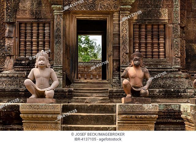 Yaksha Guardian, ape-like guardian figures in front of the Mandapa, Khmer Hindu temple Banteay Srei, Angkor region, Siem Reap Province, Cambodia